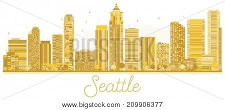 Seattle City skyline golden silhouette. Business travel concept. Seattle Cityscape with landmarks.