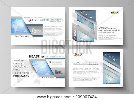 The minimalistic abstract vector illustration of the editable layout of the presentation slides design business templates. World map on blue, geometric technology design, polygonal texture
