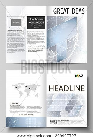 The vector illustration of the editable layout of two A4 format modern cover mockups design templates for brochure, flyer, booklet. Abstract futuristic network shapes. High tech background