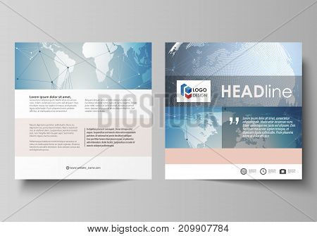 The minimalistic vector illustration of the editable layout of two square format covers design templates for brochure, flyer, booklet. Scientific medical DNA research. Science or medical concept