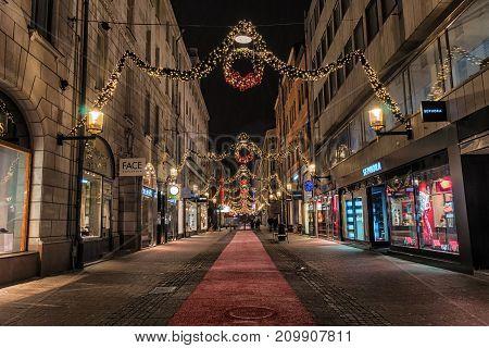 Stockholm, Sweden - December, 2014. Night Photo Of Stockholm City.