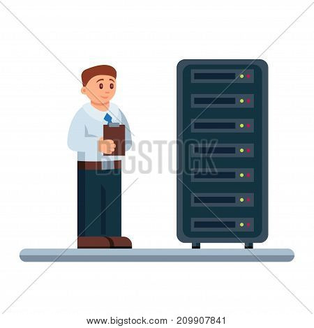 Vector illustration of network engineer administrator checking hardware equipment of data center.
