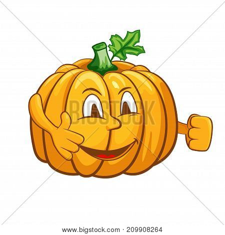 Funny pumpkin character. Vector illustration for your design, print and internet.