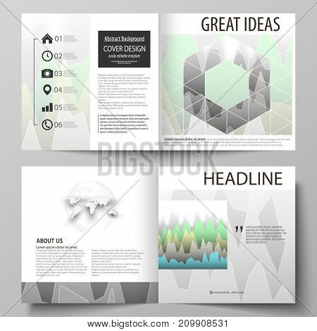 The vector illustration of the editable layout of two covers templates for square design bi fold brochure, magazine, flyer, booklet. Rows of colored diagram with peaks of different height