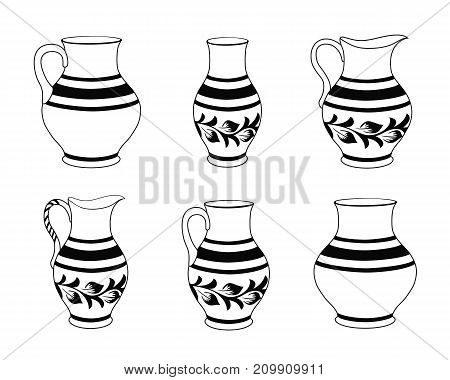 Set of ceramic crockery in black and white colors. Collection jugs in different variation. Rustic ceramic utensils monochrome vector illustration for your design. Horizontal location.