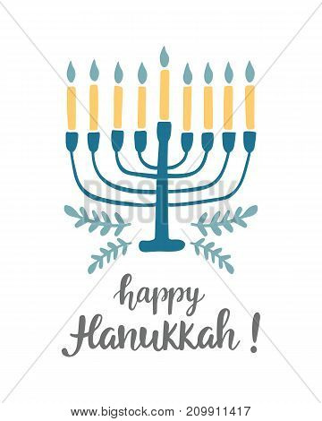 Happy Hanukkah greeting card with hand written modern brush lettering and menorah. Jewish holiday elegant banner template. Flyer, poster, label sticker, invitation design. Vector illustration
