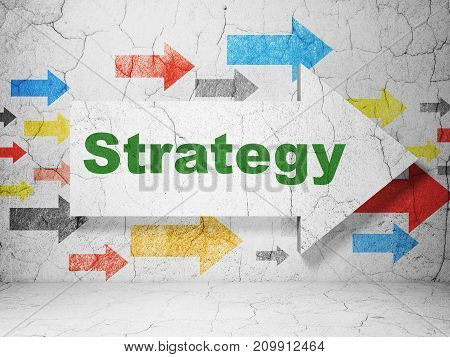 Finance concept:  arrow with Strategy on grunge textured concrete wall background, 3D rendering