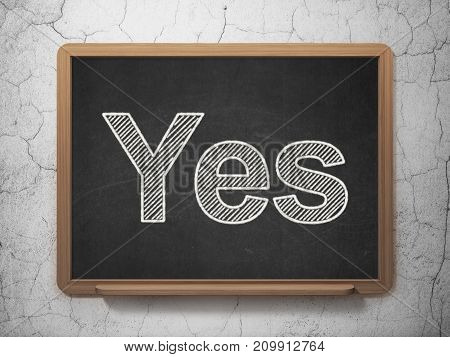Business concept: text Yes on Black chalkboard on grunge wall background, 3D rendering