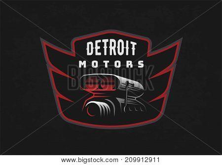 Retro car emblem on dark grunge background. Car air intake and throttle body illustration. T-shirt print design.
