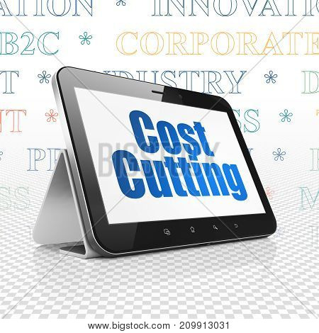 Business concept: Tablet Computer with  blue text Cost Cutting on display,  Tag Cloud background, 3D rendering
