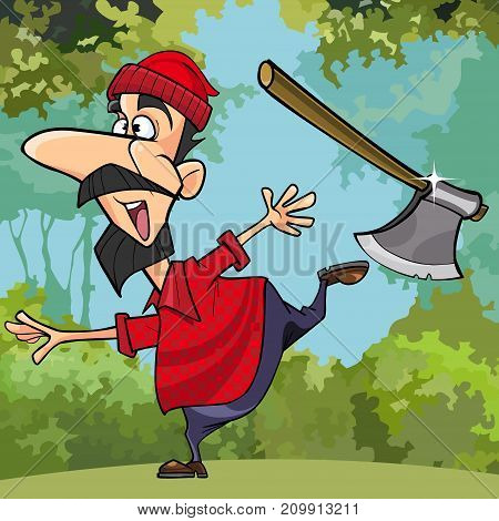 cartoon funny lumberjack throwing axe in the woods