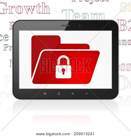 Business concept: Tablet Computer with  red Folder With Lock icon on display,  Tag Cloud background, 3D rendering