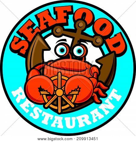Cartoon orange sea crab with claws holding steering wheel. Vector illustration