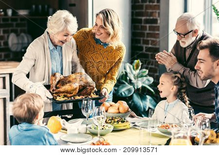 Family Having Holiday Dinner