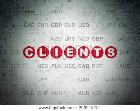 Finance concept: Painted red text Clients on Digital Data Paper background with Currency