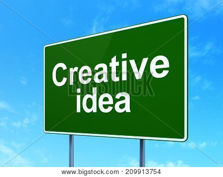 Finance concept: Creative Idea on green road highway sign, clear blue sky background, 3D rendering