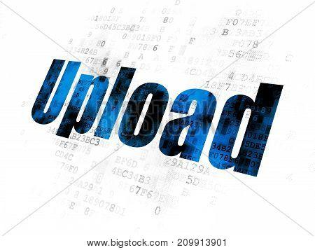Web development concept: Pixelated blue text Upload on Digital background