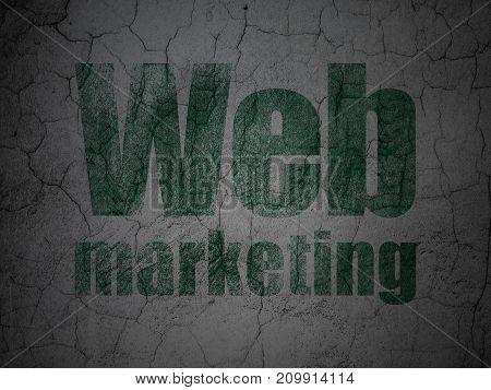 Web development concept: Green Web Marketing on grunge textured concrete wall background