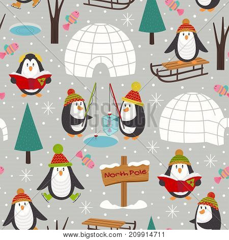 seamless pattern with penguins - vector illustration, eps