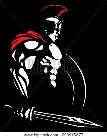 Illustration of Spartan warrior on black background.