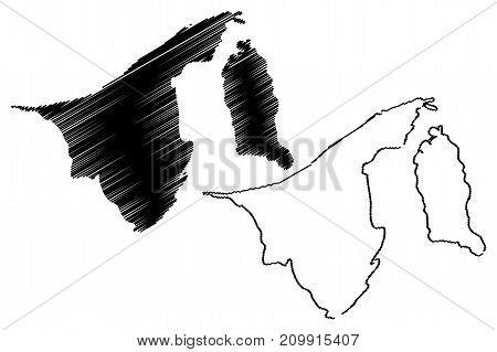 Brunei map vector illustration , scribble sketch Darussalam
