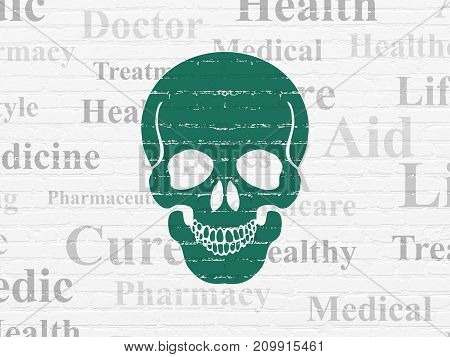 Healthcare concept: Painted green Scull icon on White Brick wall background with  Tag Cloud