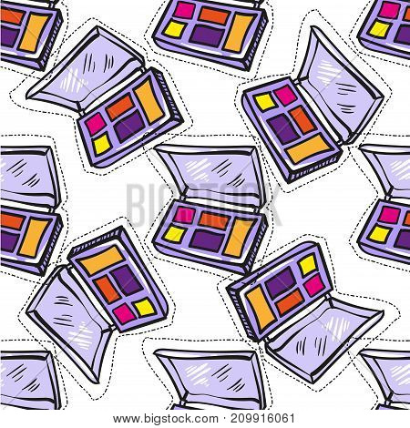 Seamless pattern of colorful eye shadow on a white background. Hand drawing. Vector illustration in cartoon style for stock