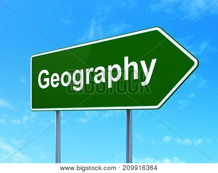 Science concept: Geography on green road highway sign, clear blue sky background, 3D rendering