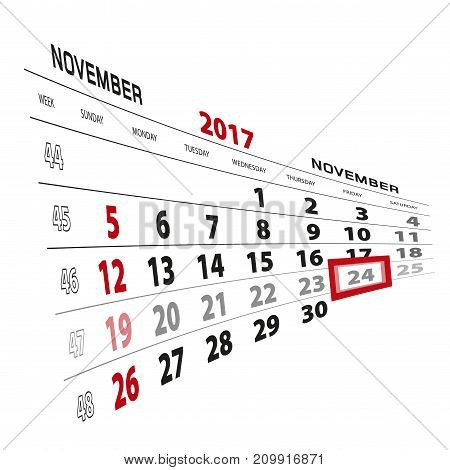 November 24, Highlighted On 2017 Calendar. Week Starts From Sunday.