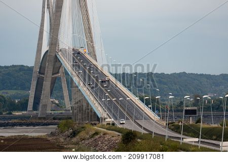 Pont de Normandie, bridge crossing river Seine near Le Havre in France. The bridge is the longest rope bridge of Europe.