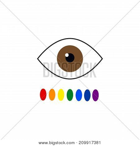 Color blindness. Eye color perception. Seven colors of the rainbow. Vector illustration on isolated background.
