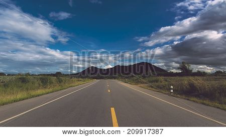 Beautiful blue sky and the road for background. Business target concept.