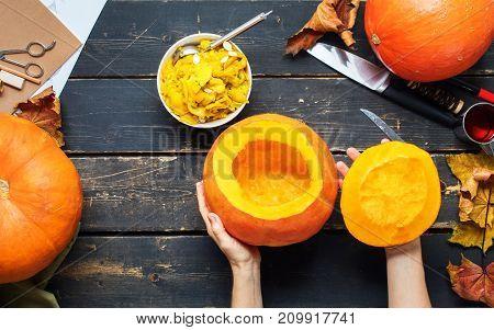 Close Up View Hollow Pumpkin Preparation Halloween