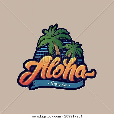 Colourful Aloha typography with palm tree .Aloha lettering logo. Illustration for print on T-shirt