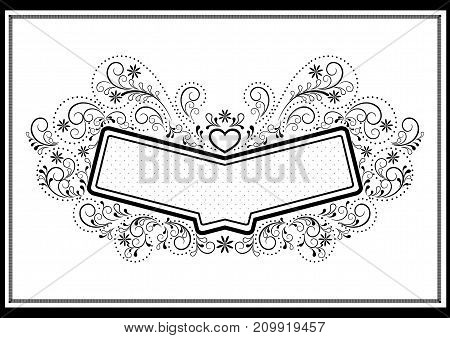 Black frame with pattern in openwork calligraphic framed on a white background