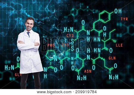 Smiling male doctor with chemical formulas on dark background. Science concept. Double exposure