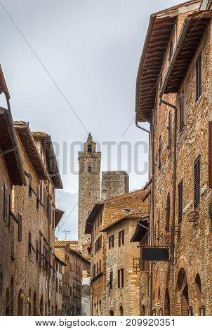 Street in historical center of San Gimignano Italy