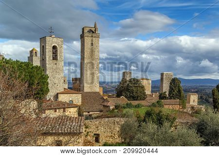 View of San Gimignano with several towers Italy