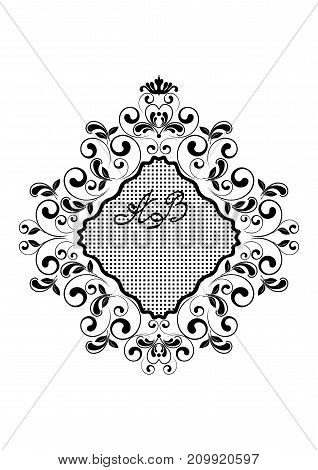 Black wavy rhomboid frame with a grid framed by curls and leaves on a white background