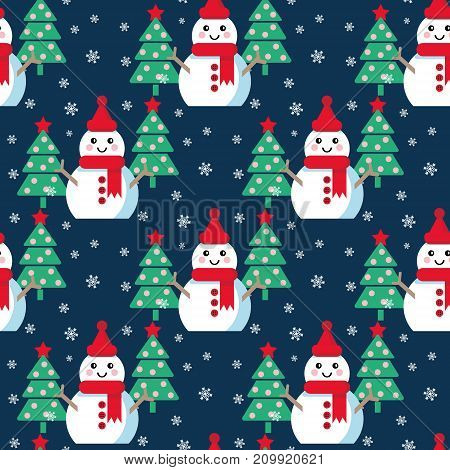 Funny cartoon snowman, Vector seamless illustration with snowmen and Christmas trees