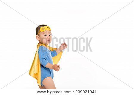 Asian Toddler In Superhero Cape