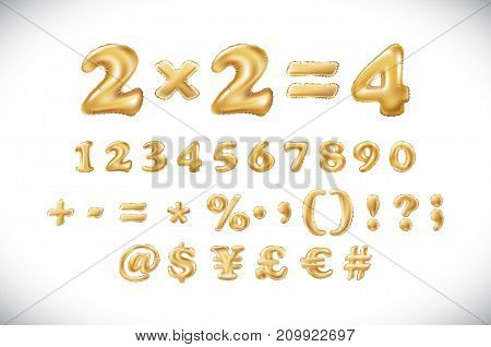 Metallic Gold Letter Balloons, 1 2 3 4 5 6 7 8 9 Golden Numeral Alphabeth. Mathematics, Numbers