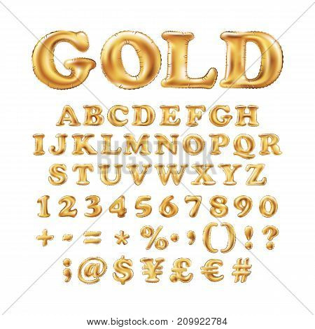 Metallic Gold Alphabet Balloons, Golden Letter Type For Text, Letter, New Year, Holiday, Birthday, C