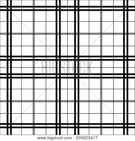 Black and white tartan seamless vector pattern. Checkered plaid texture. Geometrical simple square background for fabric textile cloth clothing shirts shorts dress blanket wrapping design