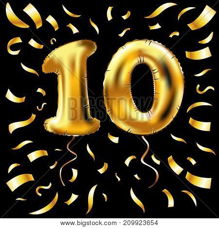Golden Number Ten Metallic Balloon. 10 Party Decoration Gold Balloons. Anniversary Sign For Happy Ho