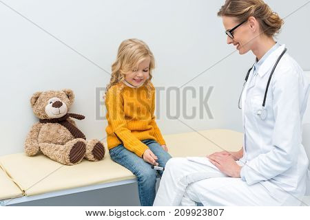 Girl Doing Neurology Examination For Doctor