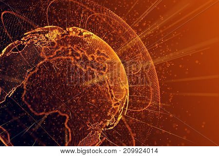 Abstract glowing polygonal globe background. Science global business concept. 3D Rendering