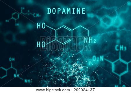 Abstract chemical dopamine formula backdrop. Science concept. 3D Rendering