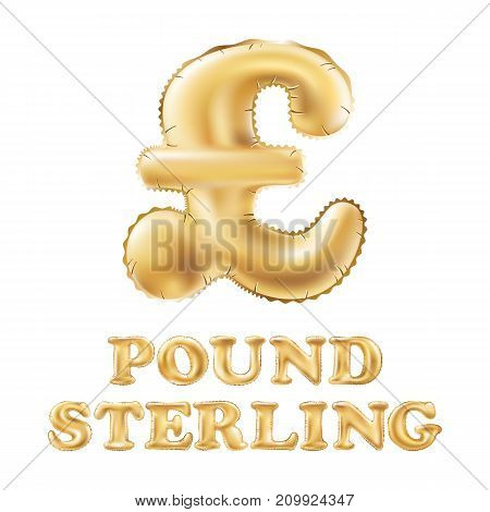 Gold Alphabet Balloons, Pound Sterling Sign, Gold Number And Letter Balloon Vector