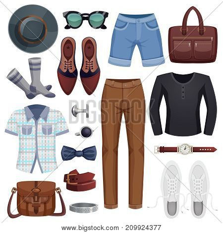 Colored and isolated men accessories icon set with clothes and accessories for stylish man vector illustration